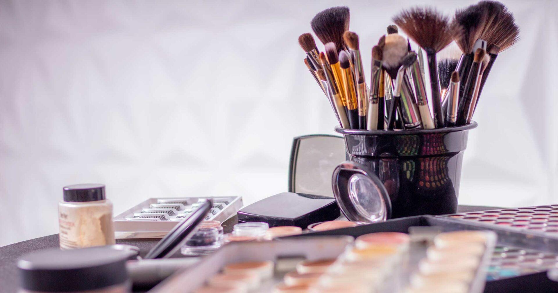 make-up and cosmetics on display