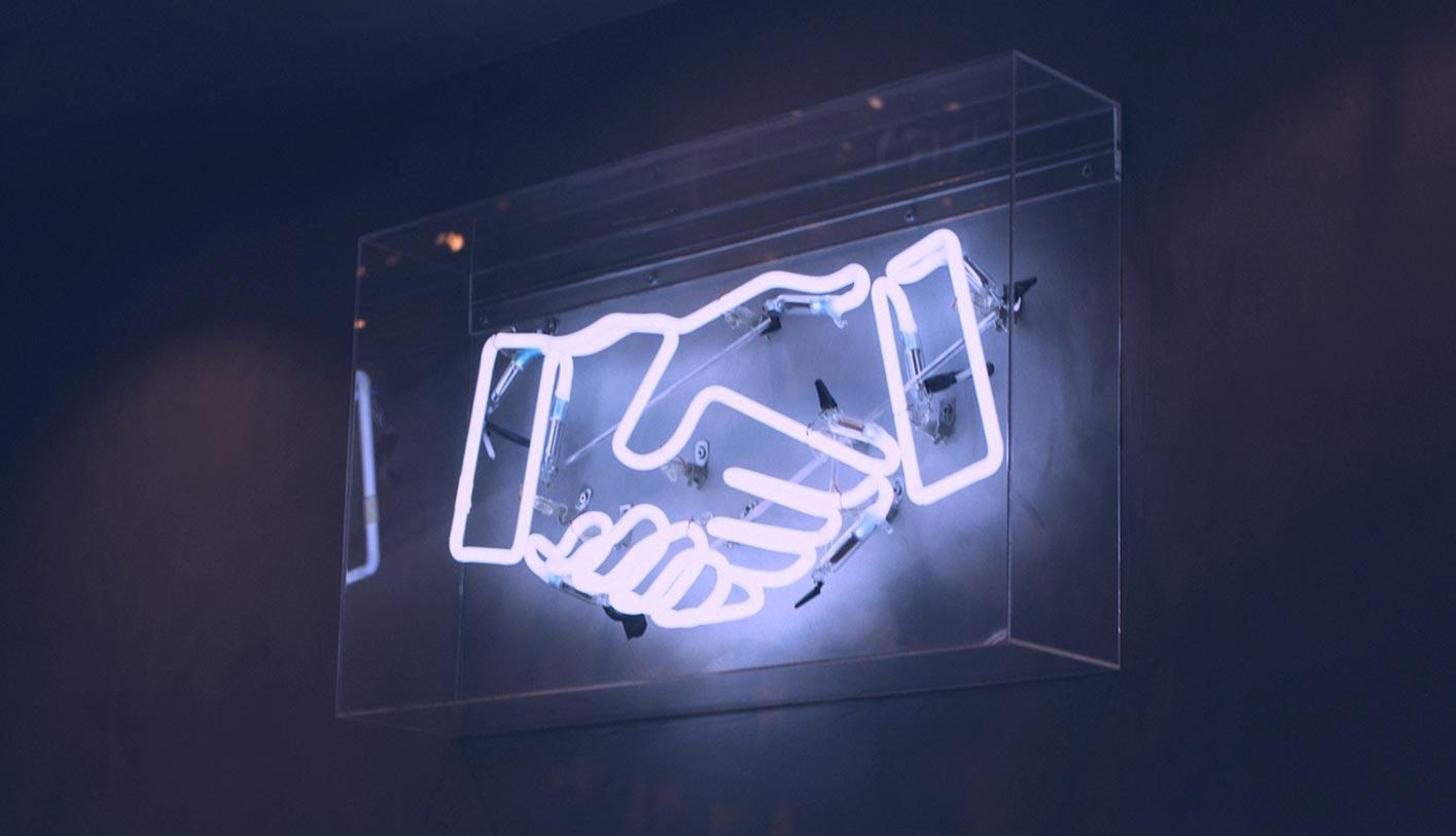 handshake electric neon sign